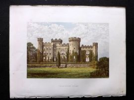 Morris Seats 1860's Antique Print. Cholmondeley Castle